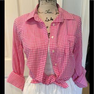 J crew cotton gingham button down shirt